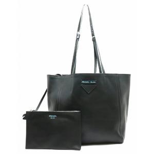 PRADA Prada Tote Bag Shoulder with Pouch Leather NERO Black 1BG209