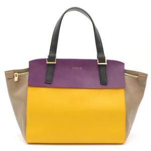 FURLA Furla Handbag One-shoulder bag Leather Grage Yellow Purple Gold Hardware