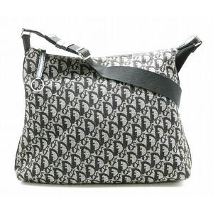 Christian Dior Trotter Shoulder Bag Messenger Canvas Leather Black Gray