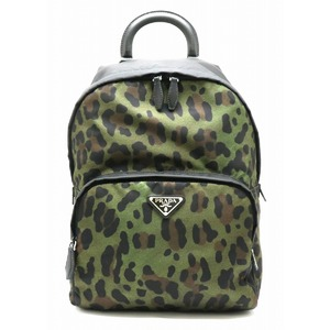 PRADA Prada Nylon Daypack Backpack Rucksack Army Camouflage Pattern Leather MILITARE 1BZ001