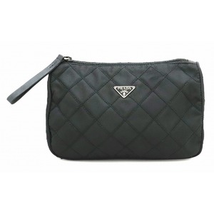 PRADA Prada Quilted Nylon Pouch Multi Cosmetic Leather NERO Black Silver Hardware
