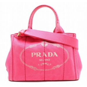 PRADA Prada CANAPA 2WAY tote bag handbag shoulder canvas leather pink gold metal fittings 1BG642