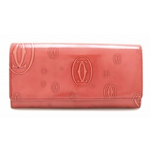 Cartier Happy Birthday 2-fold wallet enamel leather patent coral red L3001281