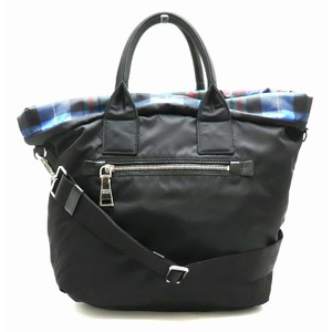 PRADA Prada nylon tote bag shoulder 2WAY reversible plaid leather MACRAE blue system black B1959M