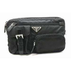 PRADA Prada shoulder bag body nylon NERO black silver metal fittings BM0008