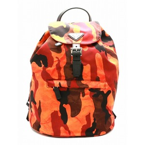 PRADA Prada nylon rucksack backpack camouflage pattern leather ARANCIO BZ0032