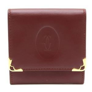 Cartier mast line must de square coin purse case leather calf bordeaux gold L3000464