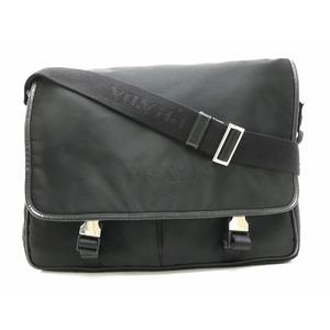 PRADA Prada nylon shoulder bag leather NERO black silver metal fittings 2VD769