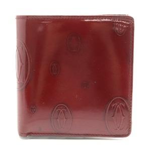 Cartier Happy Birthday Bifold Wallet Enamel Patent Leather Calf Bordeaux L3000263