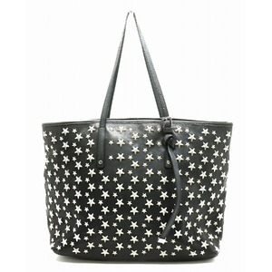 JIMMY CHOO Jimmy Choo Tote Bag Shoulder Leather Starstuds Black Silver Hardware