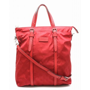GUCCI Gucci GG nylon tote bag 2WAY shoulder red leather 510333