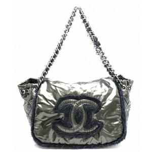 CHANEL Chanel CC Coco Mark Fabric Flap Nylon Fur Chain Shoulder Tote Bag Metallic Gray Black A49697