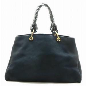 Bottega Veneta Tote Bag Shoulder Canvas Leather Dark Navy Black 171267