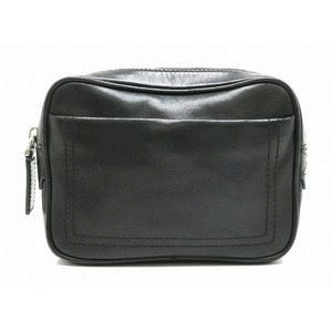 BALLY Barry Train Spotting Waist Bag Pouch Leather Black White