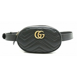 GUCCI Gucci GG Marmont Belt Bag Waist Pouch Body Quilted Leather Black Gold 476434