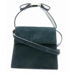 Salvatore Ferragamo 2 Way Handbag Shoulder Bag Ribbon Suede Dark Navy BC213104