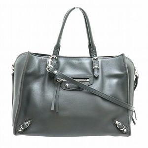 BALENCIAGA Paper A6 Zip Around Handbag 2WAY Shoulder Bag Leather Grymetal Gray 370926