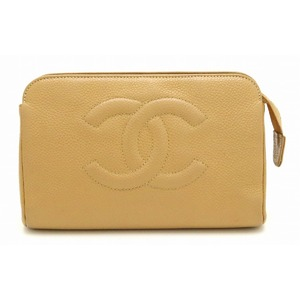 CHANEL Caviar skin Coco mark Makeup pouch Cosmetic Multi accessory case Leather beige Gold hardware