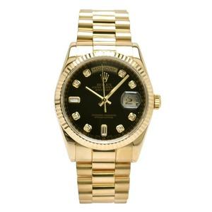 ROLEX Perpetual Day Date 10P Diamond 18K Gold Black Dial Watch 118238A