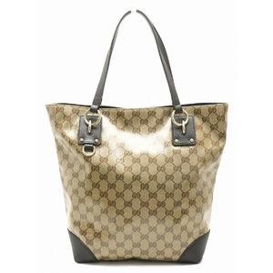 GUCCI Gucci GG Crystal Tote Bag Shoulder Coated Canvas Leather Khaki Beige Dark Brown 353706