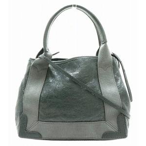 BALENCIAGA navy cabas XS logo tote bag handbag shoulder 2WAY leather gray 542018 CU51N 1270