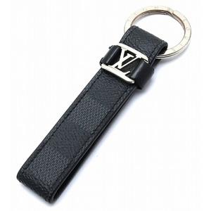 LOUIS VUITTON Louis Vuitton Damier Graphite LV Dragonne Keychain Key Ring Charm Leather Calf M62706