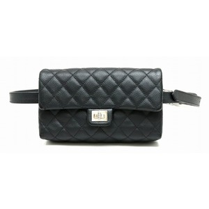 CHANEL 2.55 Matrasse Caviar Skin Waist Bag Funny Pack Body Pouch 2WAY Leather Black