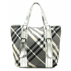 BURBERRY Plaid Tote Bag Shoulder Nylon Metallic Leather Silver Gray