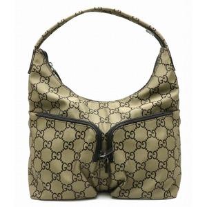 GUCCI Gucci GG nylon shoulder bag one semi leather bronze black 001.3380