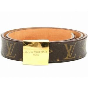 LOUIS VUITTON Louis Vuitton Monogram Suntulle Carre Belt Gold Buckle # 80cm M6800W