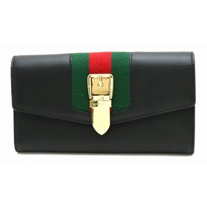 GUCCI Gucci SYLVIE Sylvie webbing line two long wallet leather black green red 476084