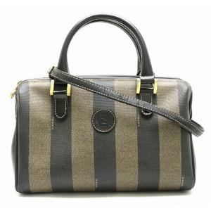 FENDI handbag mini Boston PVC leather khaki black brown 291 259023 059