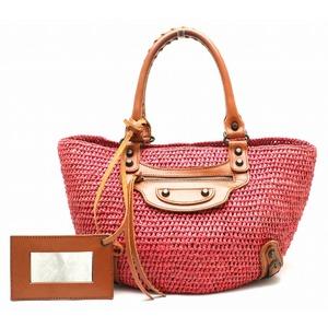 BALENCIAGA leather straw tote bag handbag basket 236741 pink brown