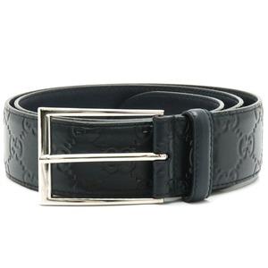 GUCCI Gucci Shima belt GG logo silver metal fittings leather black mens # 90 474311 525040
