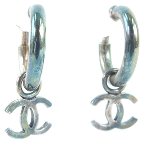 CHANEL Coco Mark Silver Ladies Earrings