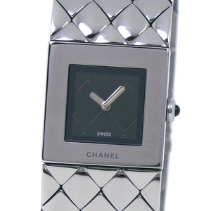 CHANEL Mattelasse H0009 Stainless Steel Silver Quartz Ladies Black Dial Wrist Watch