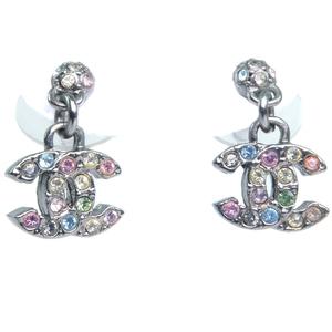 CHANEL Coco Mark Rhinestone Silver 05A Engraved Ladies Earrings