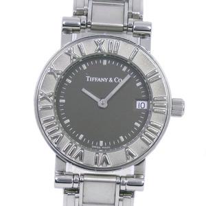 TIFFANY & Co. Atlas Stainless Steel Silver Quartz Ladies Black Dial Watch