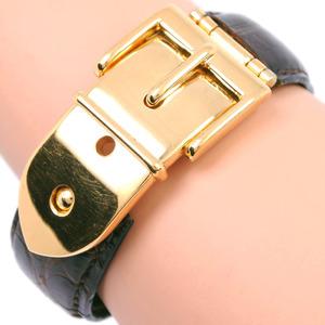 GUCCI Gucci Belt Motif Leather GP Gold Ladies Bracelet
