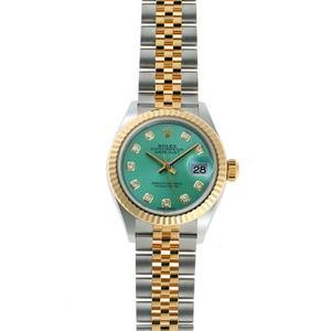 ROLEX Rolex Lady-Datejust 28 Diamond Automatic 279173G Mint Green SS YG Watch 2020054