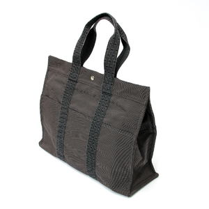 HERMES Ale line tote bag GM gray canvas 2010093