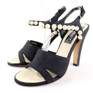 Chanel 19SS Faux Pearl Decoration Open Toe Suede Strap Heel Pumps Coco Mark Matelasse 36.5 Q3-1374