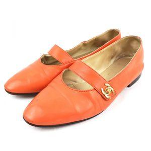 Chanel 96P Vintage vintage Coco Mark Turnlock Flat Leather Shoes Pumps 37 Orange S3-1805