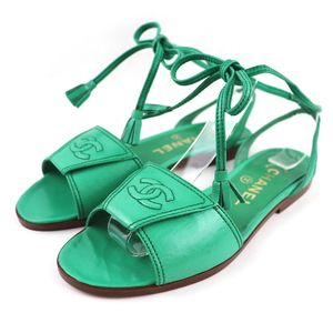 Chanel vintage Coco mark leather lace up flat sandals dead stock 34.5 green O3-2334