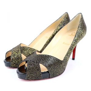Christian Louboutin Christian Loubotin SHELLEY 90 Open Toe Heel Pumps Glitter Lame 38.5 S2-2778