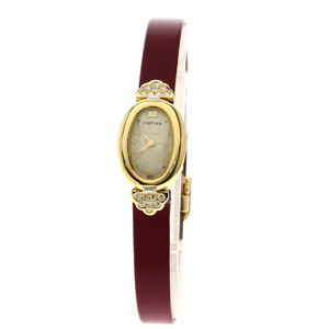 Cartier Nativa Mini Benewal Diamond Watch K18 Yellow Gold Satin Leather Ladies CARTIER