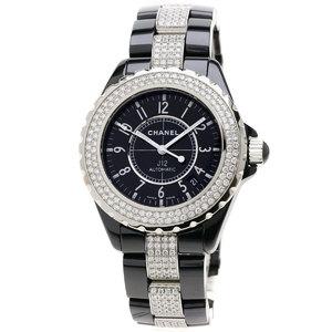 Chanel H1339 J12 38 Diamond Bezel Watch Ceramic SS Mens CHANEL