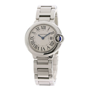 Cartier W69010Z4 Baron Blue 28mm Watch Stainless Steel SS Ladies CARTIER