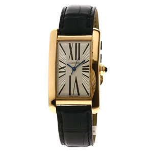 Cartier W26091556 Tank American LM Watch K18 Pink Gold Leather Men CARTIER