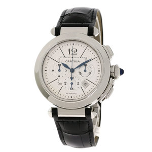Cartier W3108555 Pasha 42mm watch stainless steel leather men CARTIER